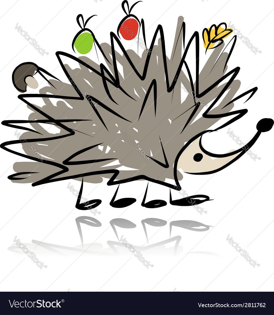 Funny hedgehog sketch for your design vector | Price: 1 Credit (USD $1)