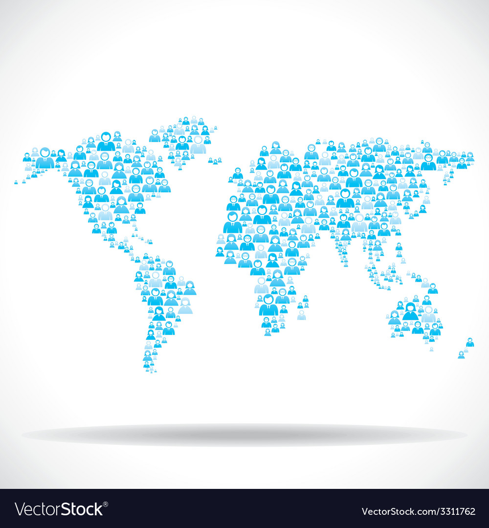 Group of people world map vector   Price: 1 Credit (USD $1)