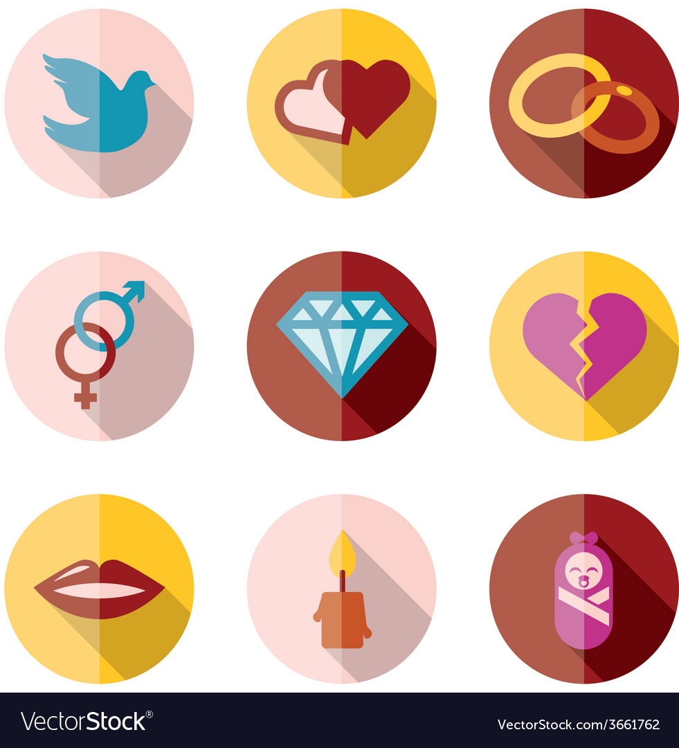 Love flat icons vector | Price: 1 Credit (USD $1)
