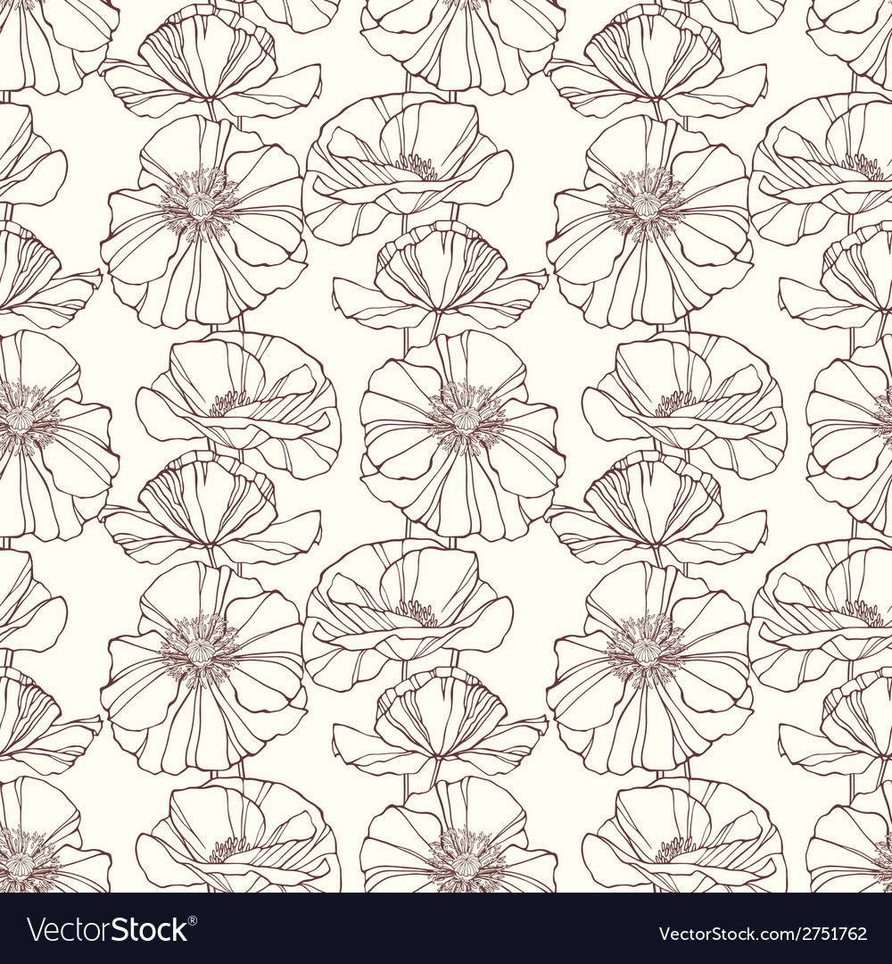 Seamless pattern with poppies floral background vector | Price: 1 Credit (USD $1)