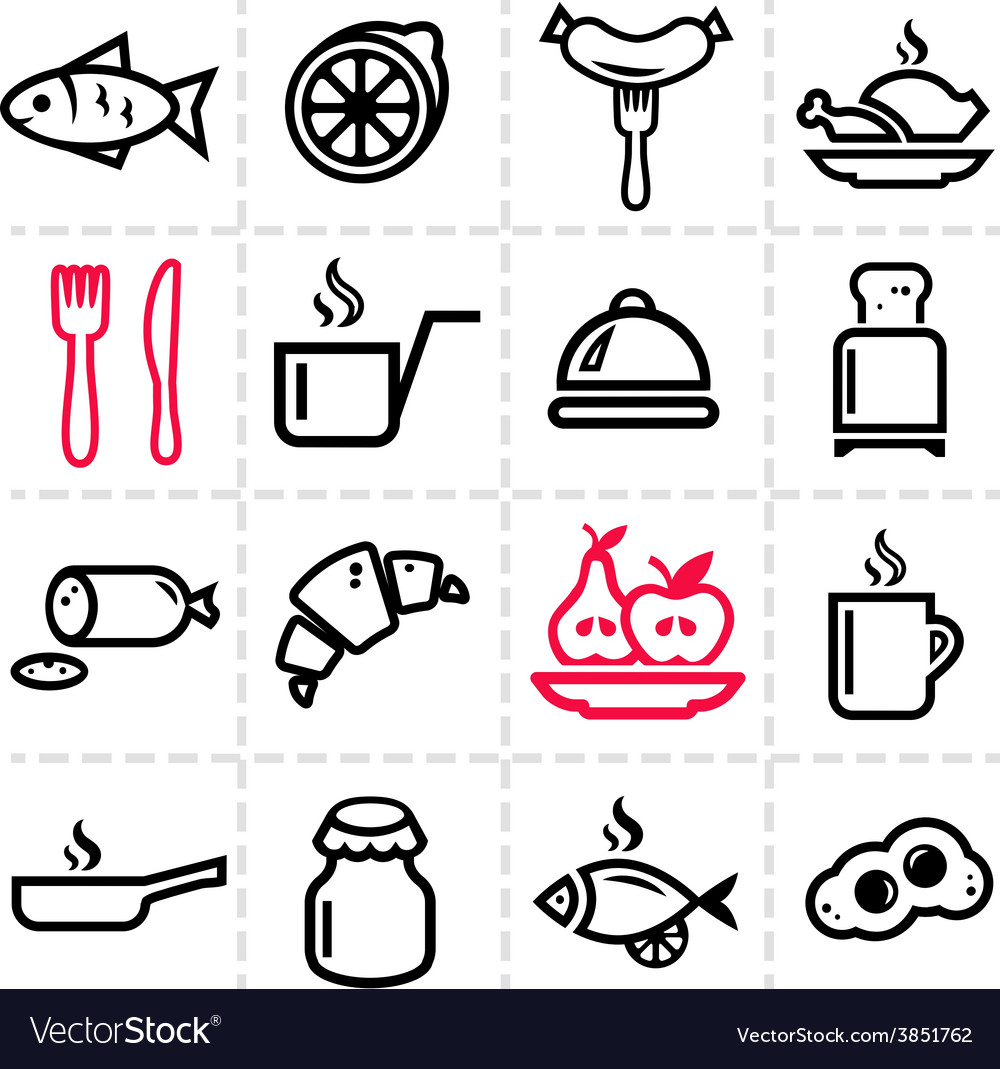 Simple food icons set vector | Price: 1 Credit (USD $1)