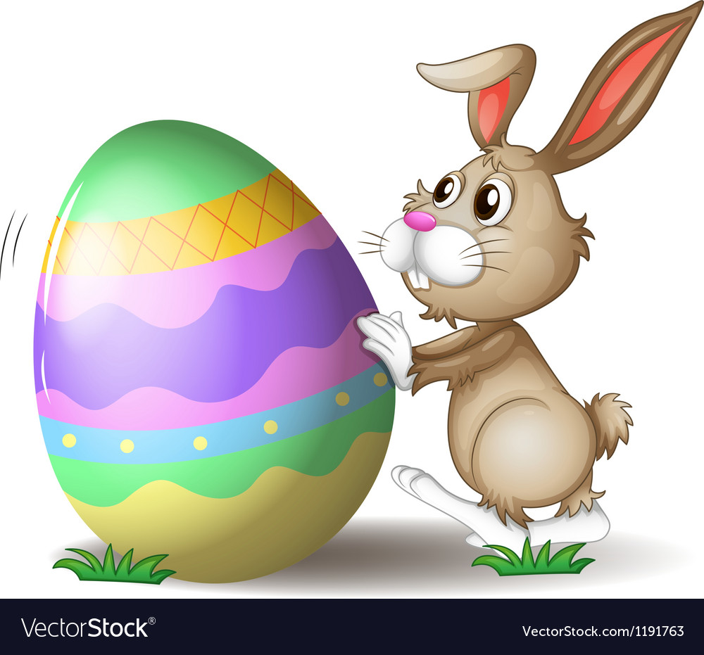 A bunny pushing an easter egg vector | Price: 1 Credit (USD $1)