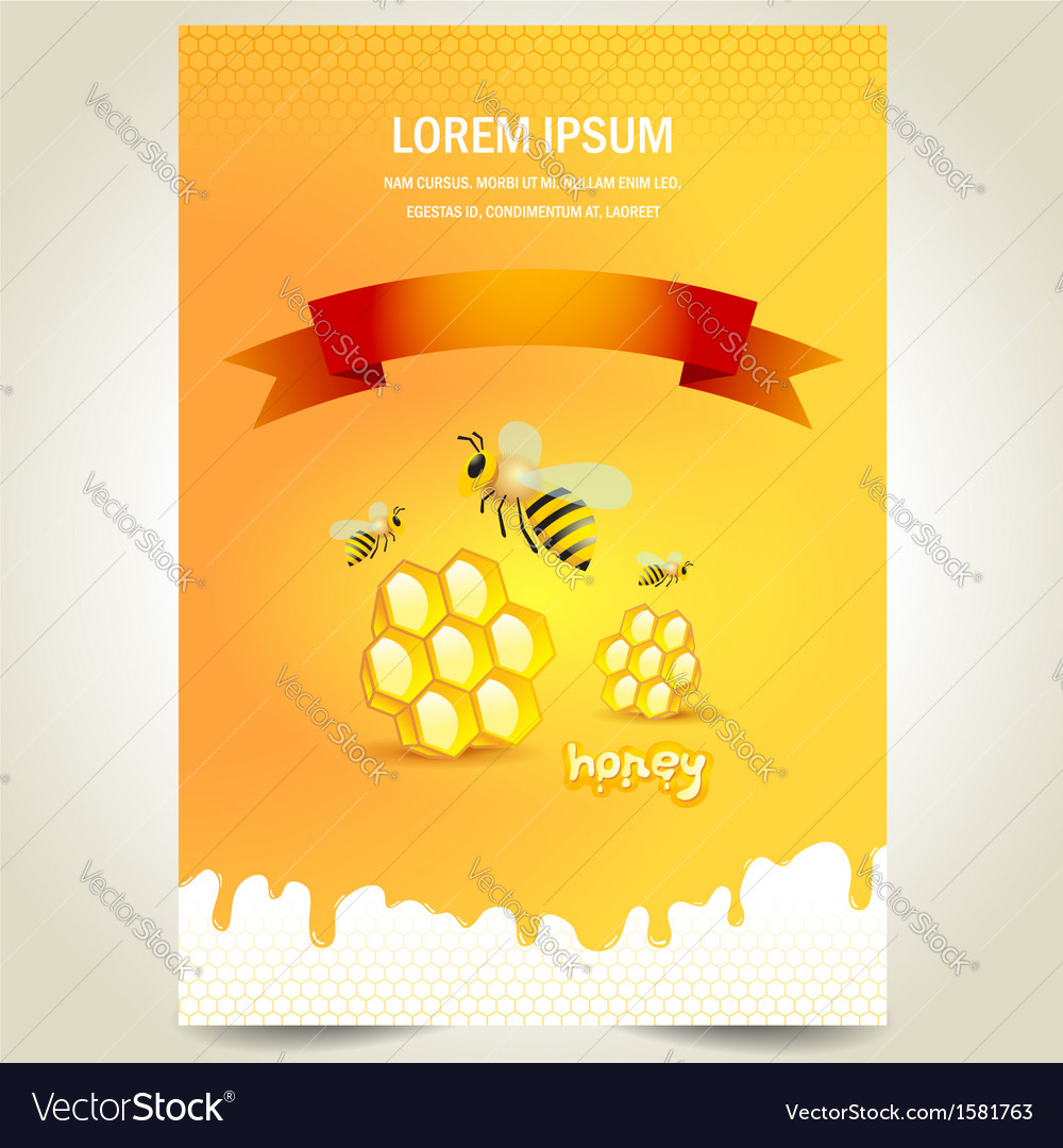 Cover poster face honey mead bee honeycomb yellow vector | Price: 1 Credit (USD $1)