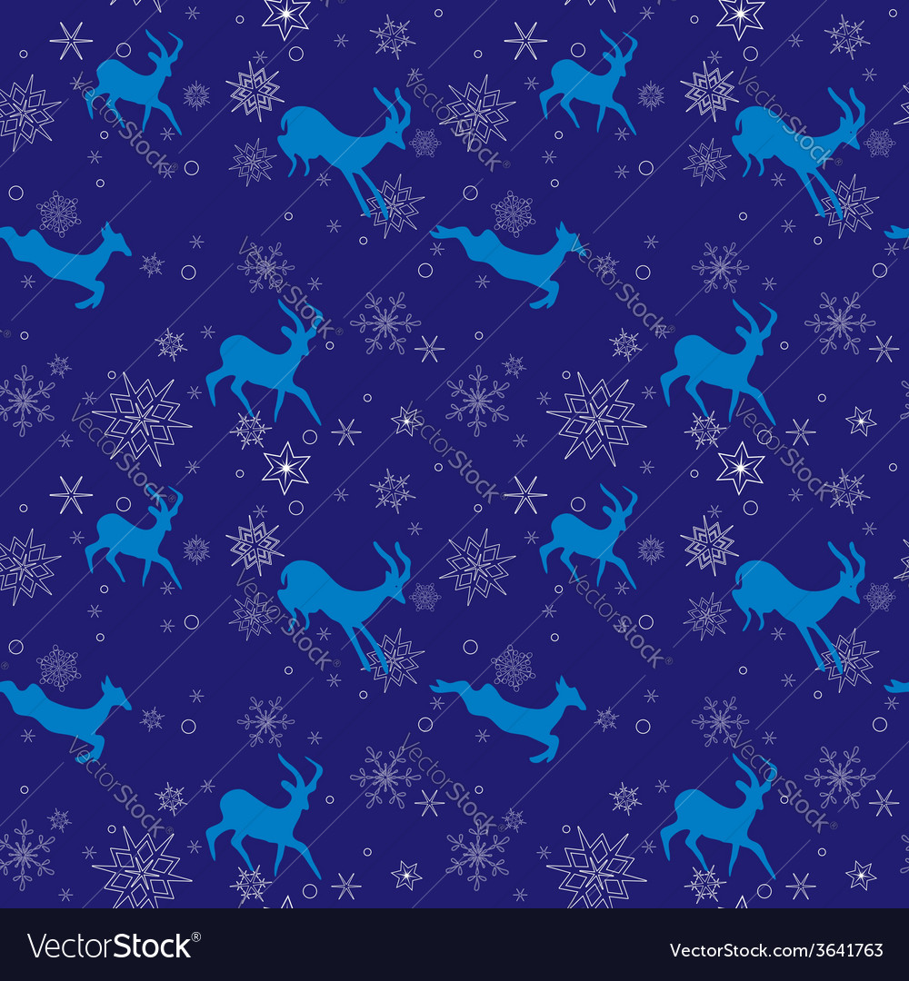 Dark blue seamless christmas pattern with goats vector | Price: 1 Credit (USD $1)