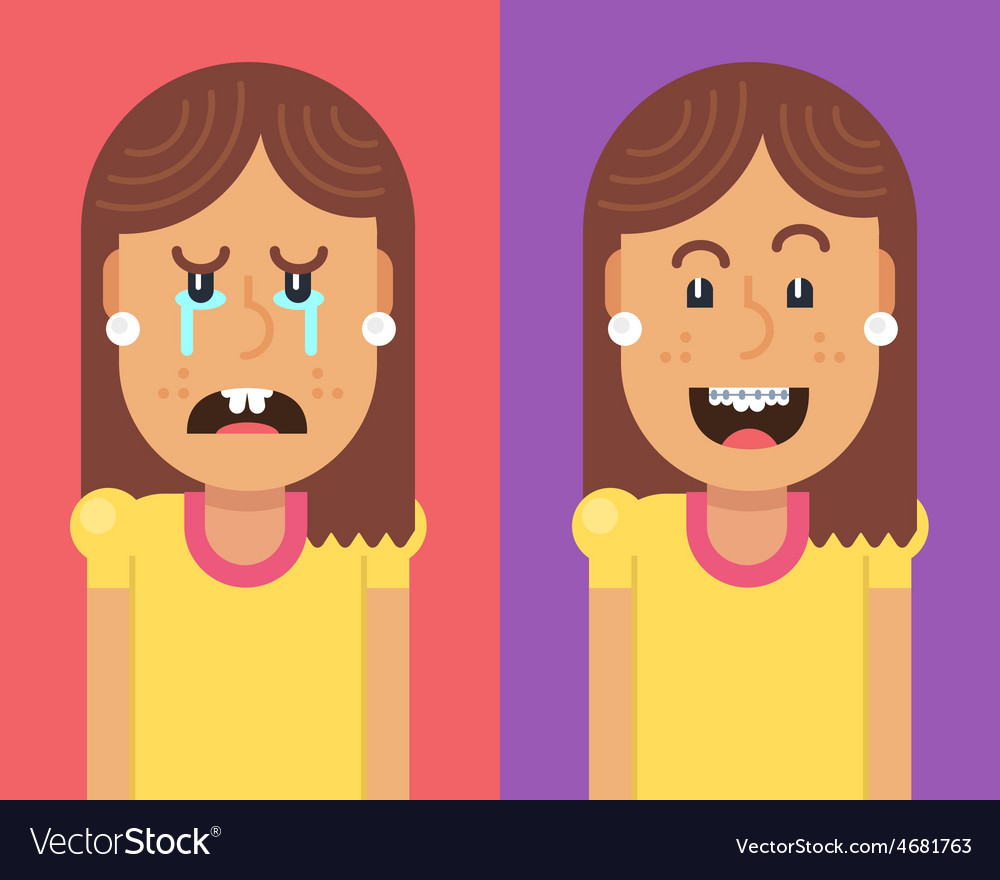 Girl without and with braces vector   Price: 1 Credit (USD $1)