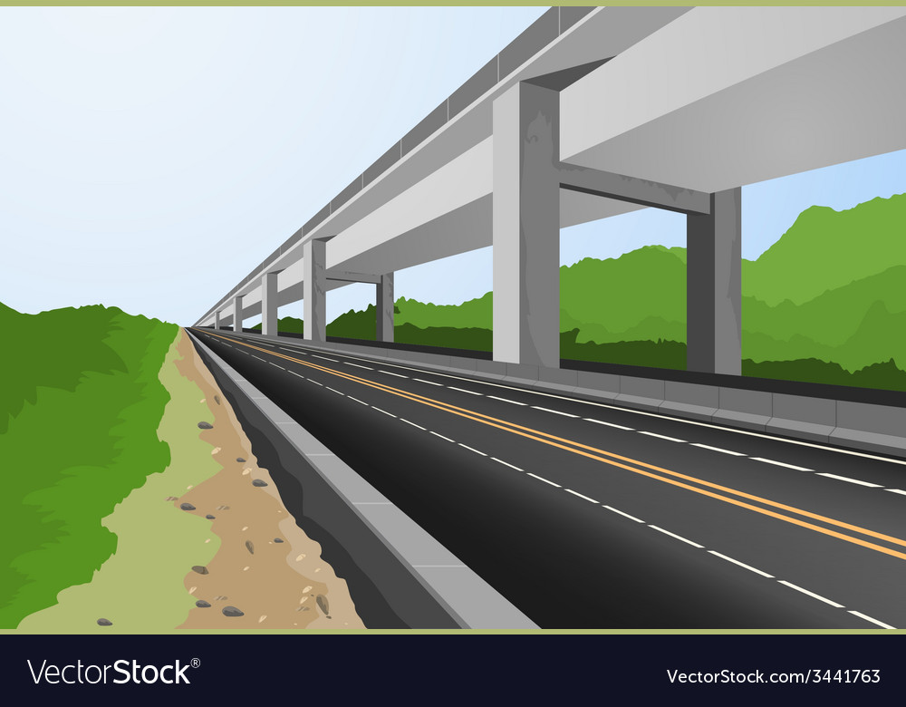 Highway to city vector | Price: 1 Credit (USD $1)