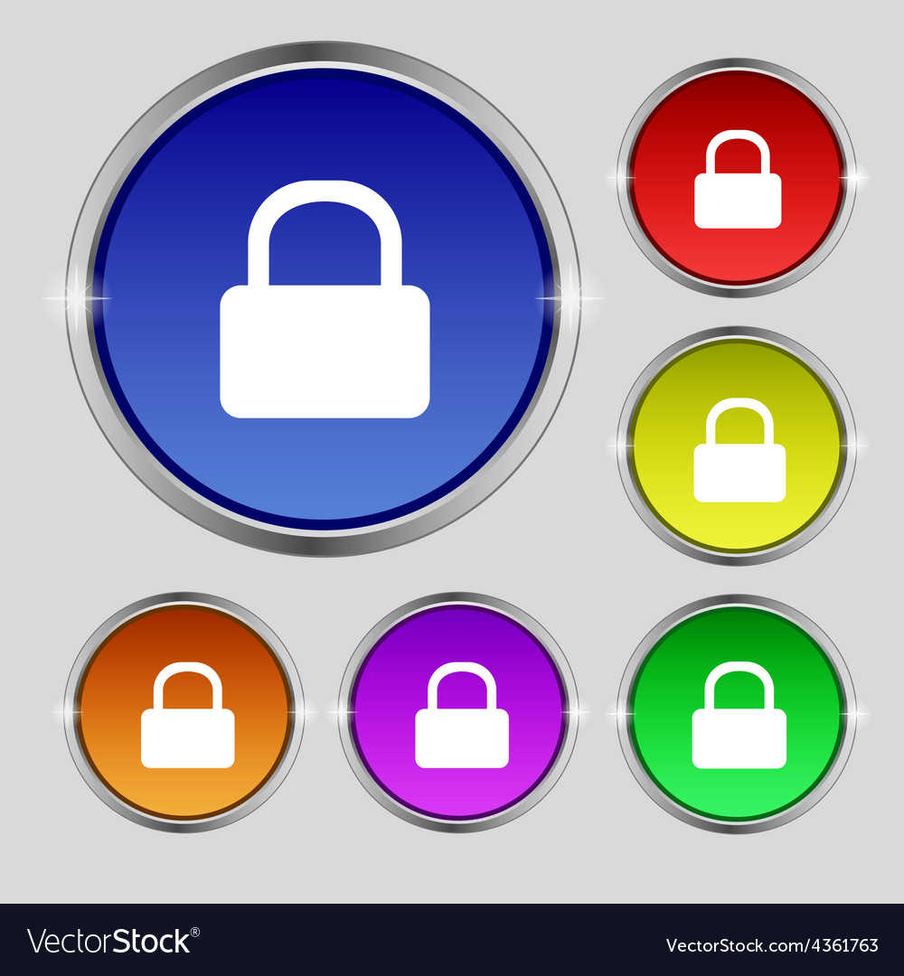 Pad lock icon sign round symbol on bright vector | Price: 1 Credit (USD $1)