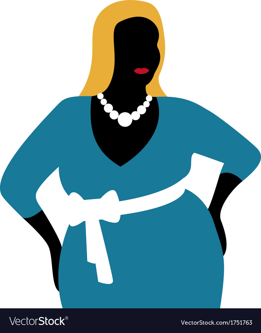 Plus size woman in blue dress vector | Price: 1 Credit (USD $1)
