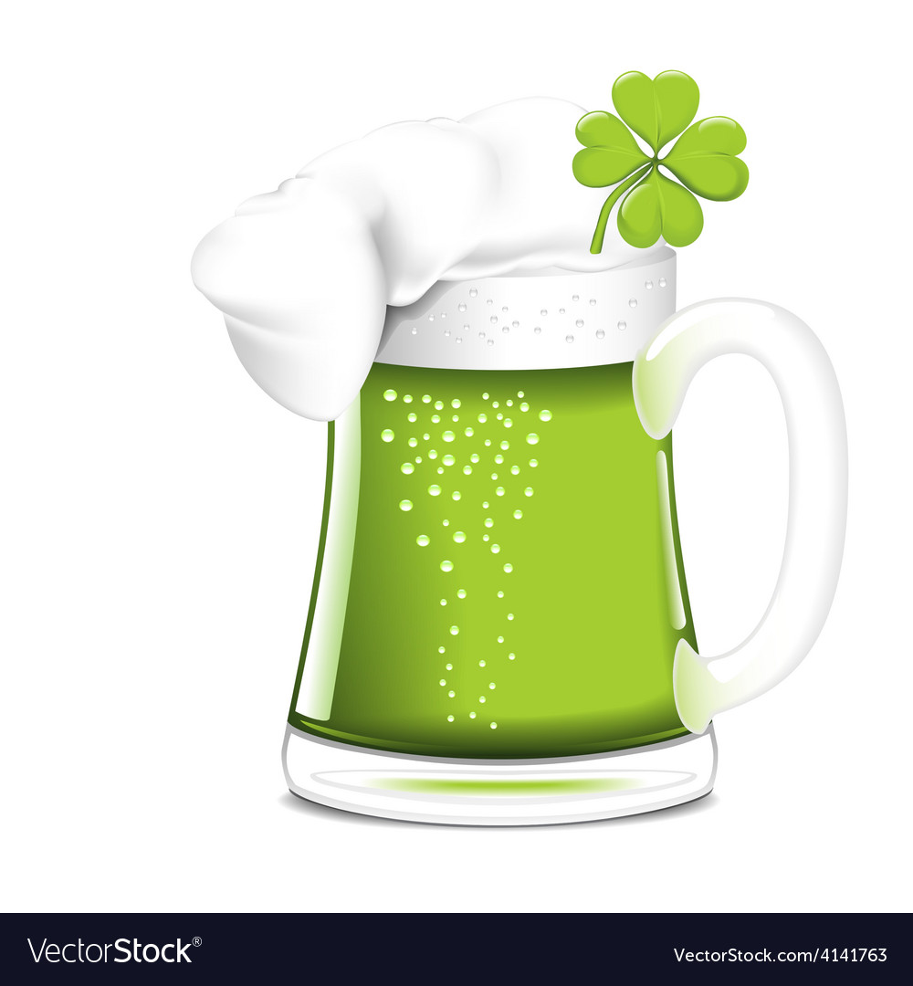 Single beer mug with green beer vector