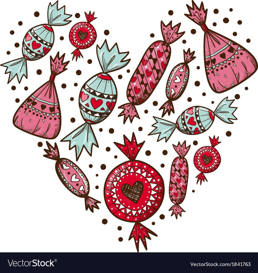 Sweet candies heart vector | Price: 1 Credit (USD $1)