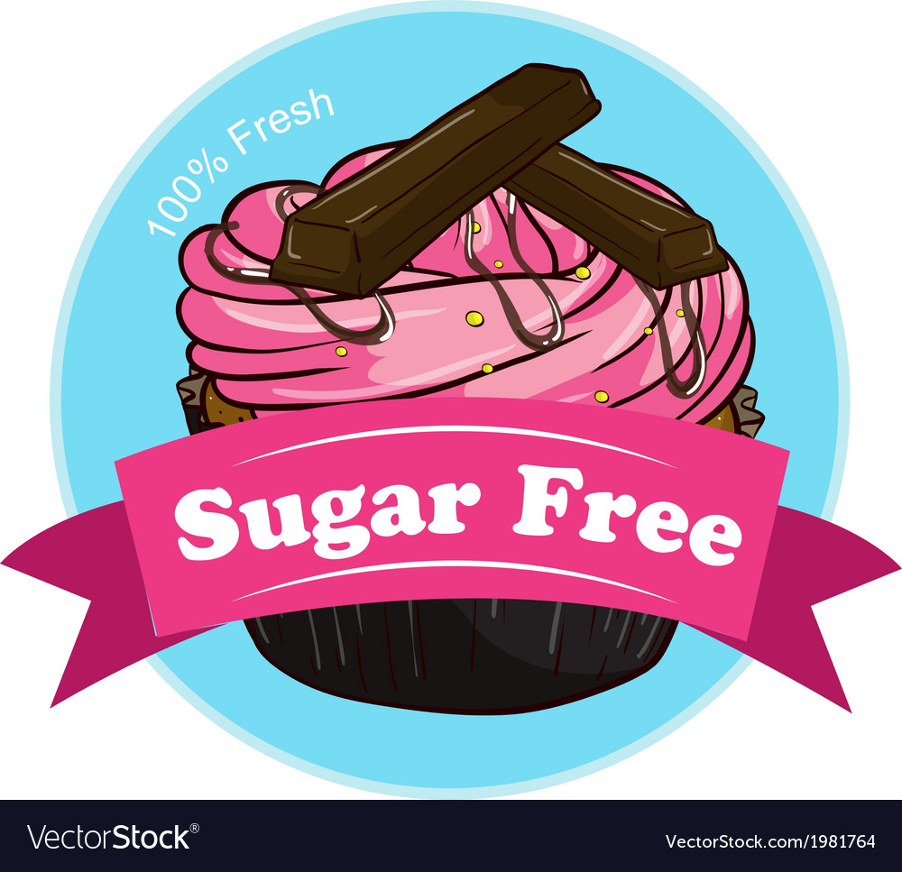 A sweet cupcake with a sugar free label vector | Price: 1 Credit (USD $1)