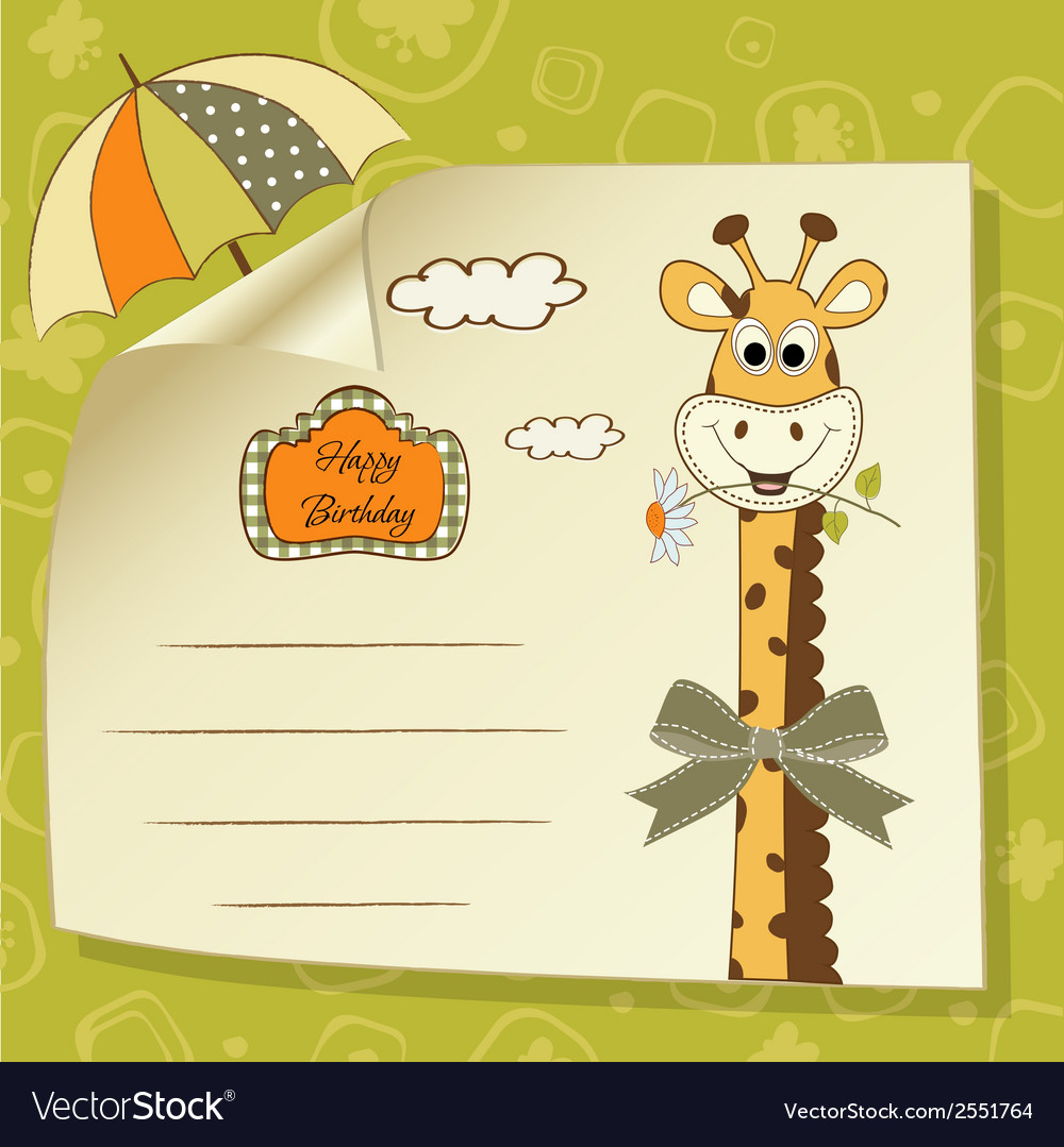 Birthday greeting card with giraffe vector | Price: 1 Credit (USD $1)