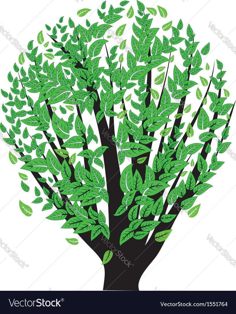 Bush with green leaves vector | Price: 1 Credit (USD $1)