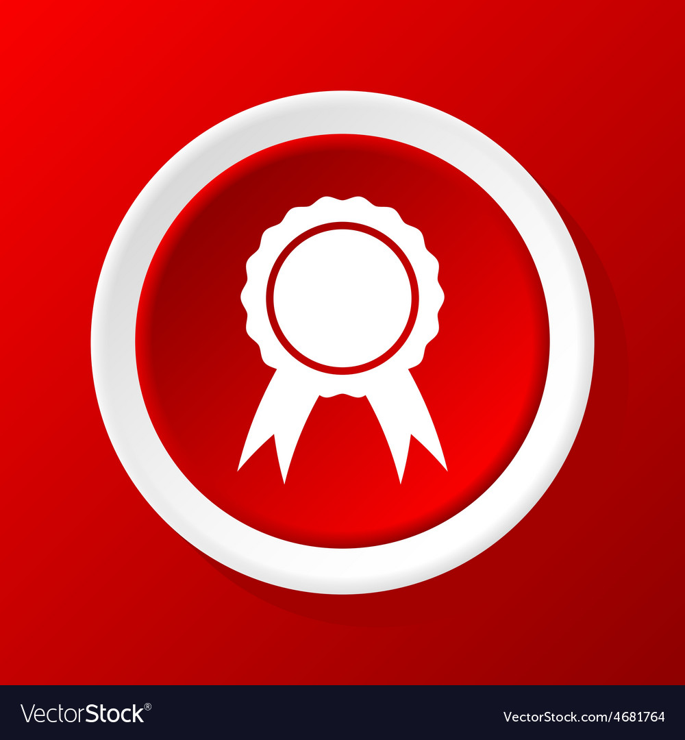 Certificate seal icon on red vector | Price: 1 Credit (USD $1)