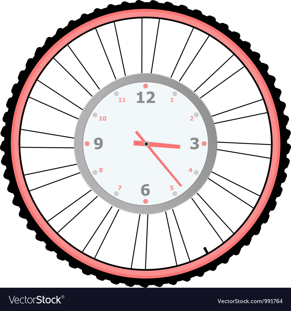 Clock on bike wheel isolated on white vector | Price: 1 Credit (USD $1)
