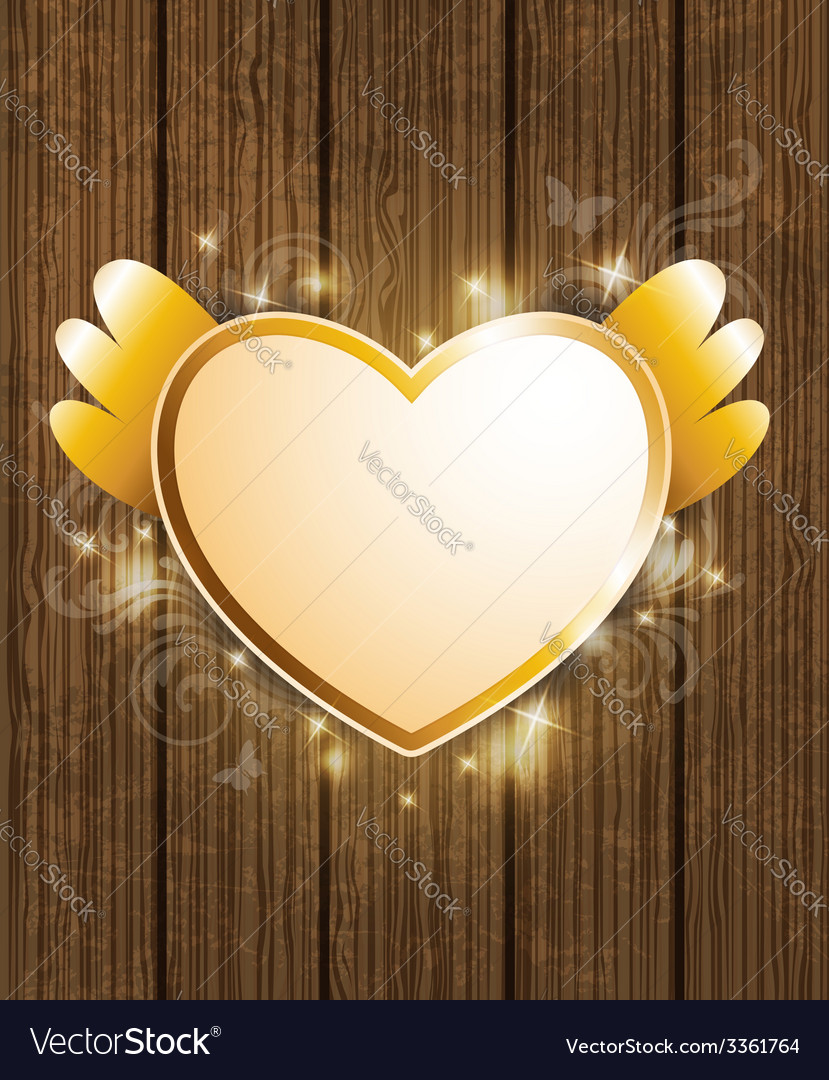Decorative background with golden heart vector | Price: 1 Credit (USD $1)