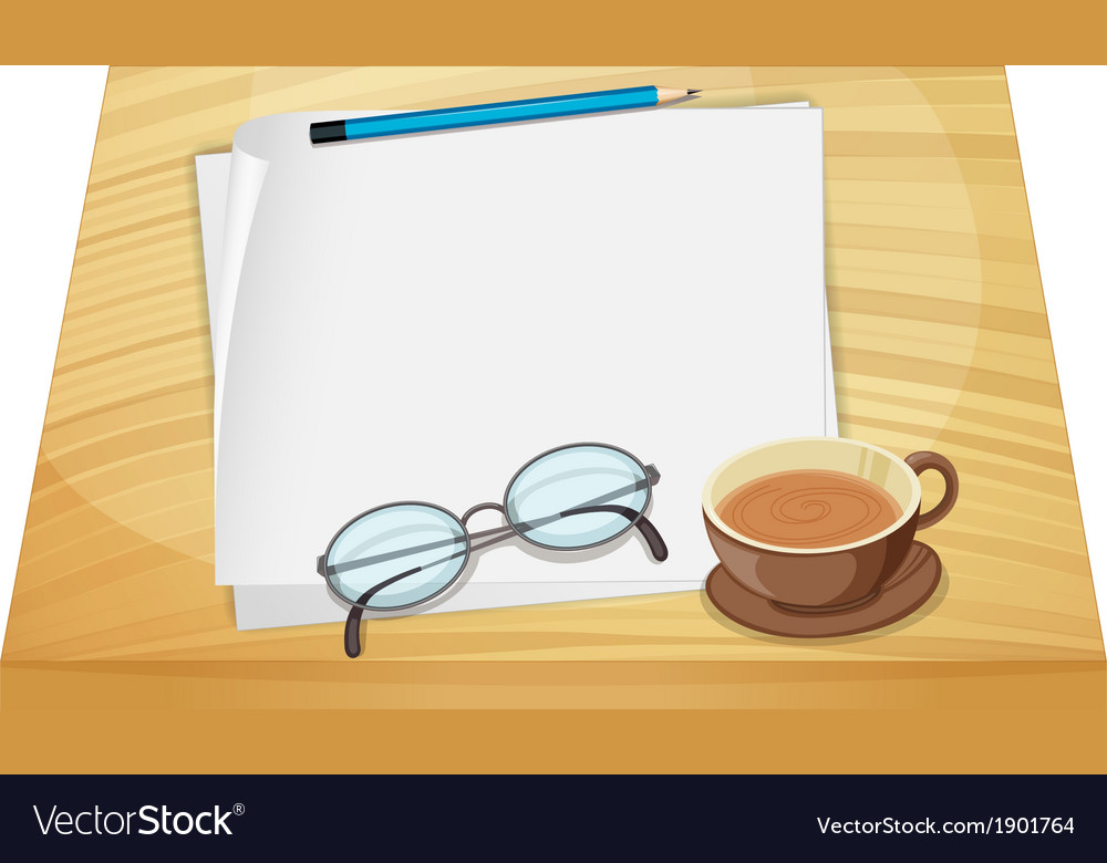 Empty sheets of paper above the wooden table vector | Price: 3 Credit (USD $3)