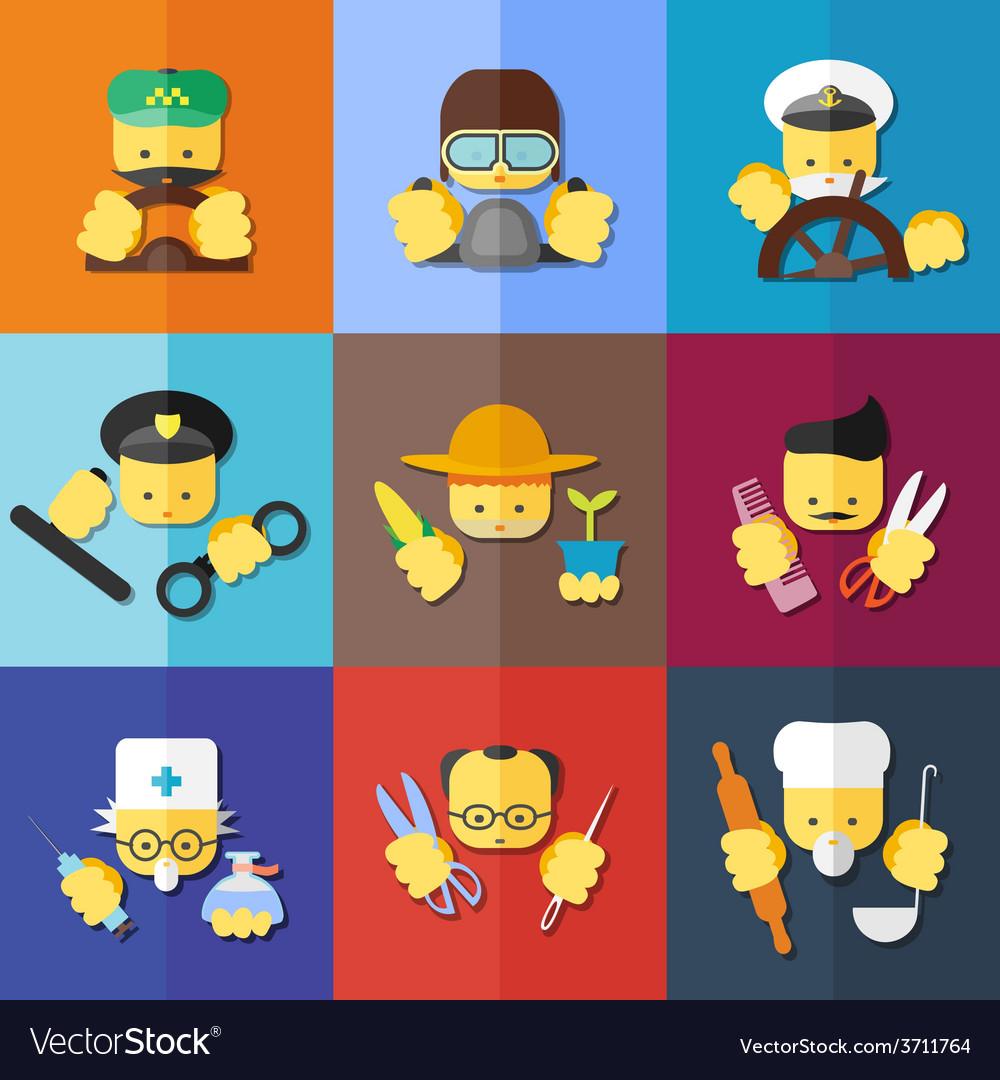 Flat icon set of profession vector