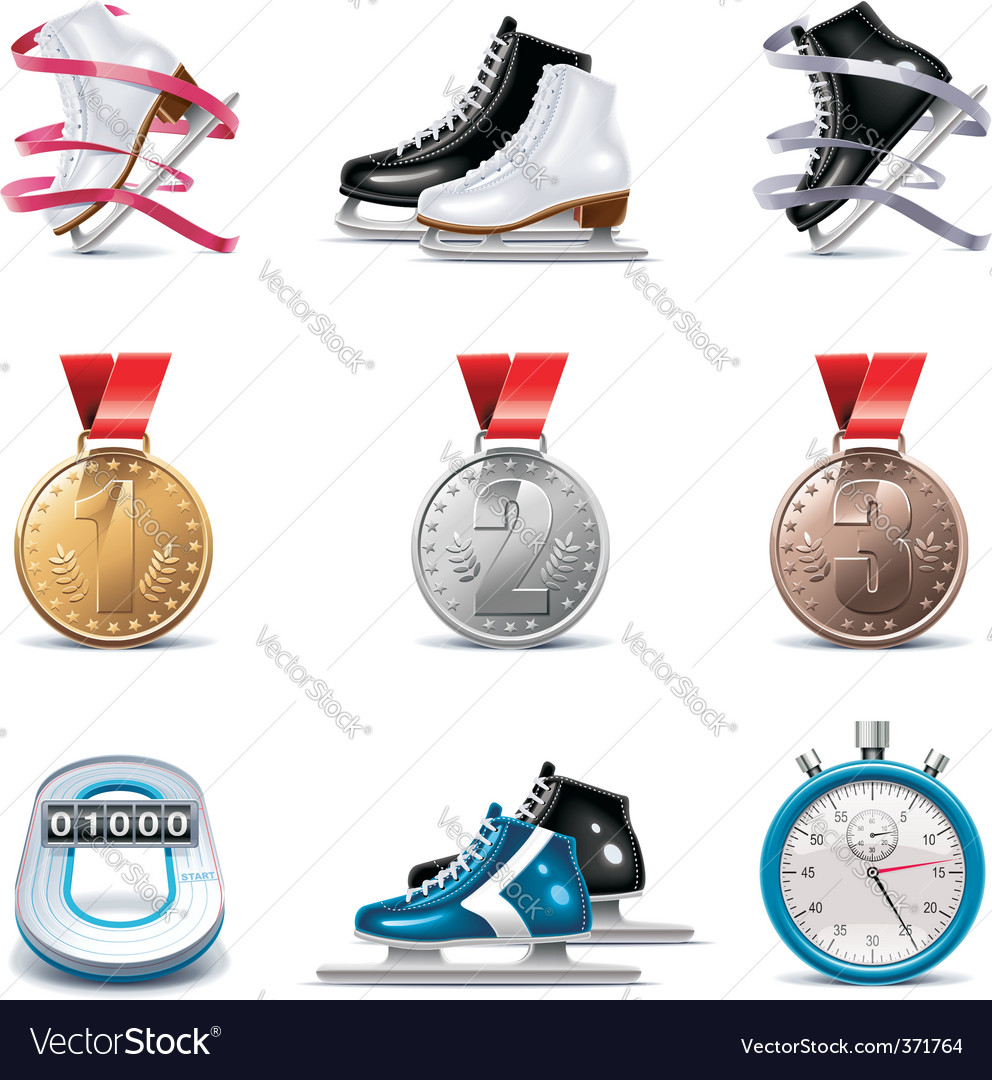 ice skating icon set vector | Price: 3 Credit (USD $3)