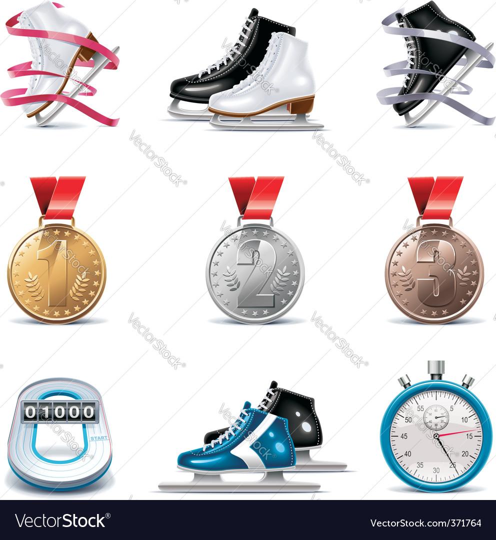 ice skating icon set vector | Price: 3 Credit (USD $3)