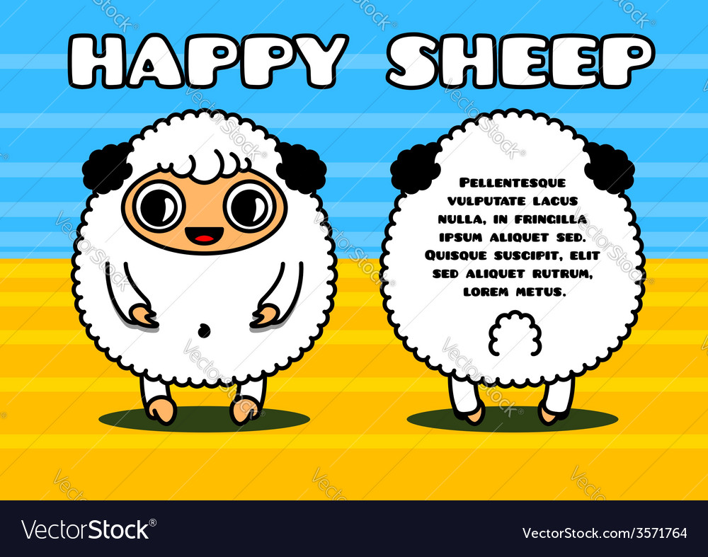 Kawaii card with sheep characters vector | Price: 1 Credit (USD $1)