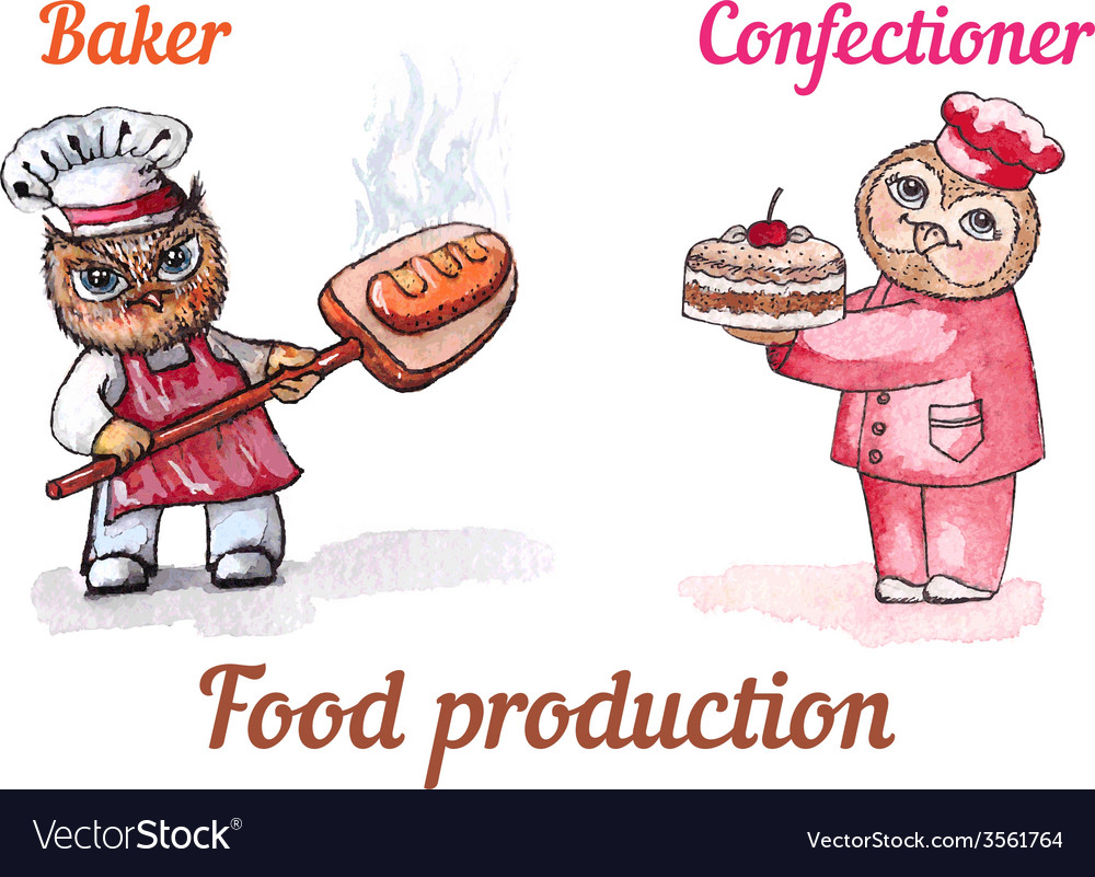 Owls baker and confectioner watercolor set vector | Price: 1 Credit (USD $1)