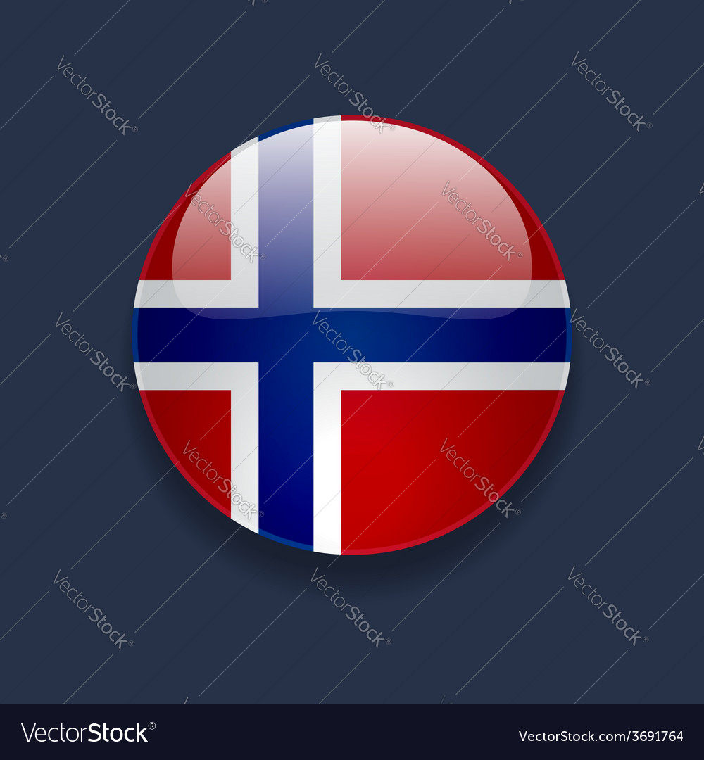 Round icon with flag of norway vector | Price: 1 Credit (USD $1)