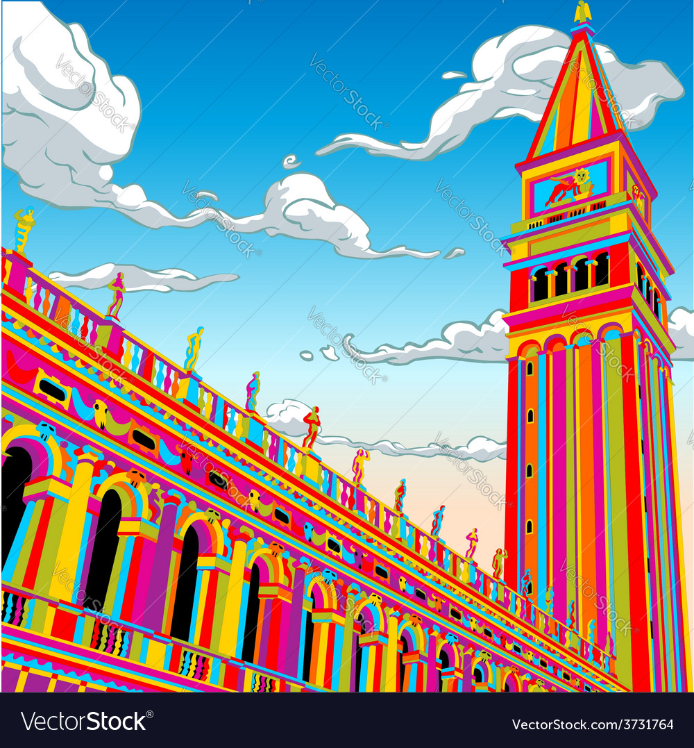 San marco tower bell in happy rainbow vector | Price: 3 Credit (USD $3)