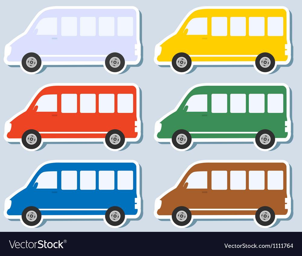 Set of isolated minibus vector | Price: 1 Credit (USD $1)