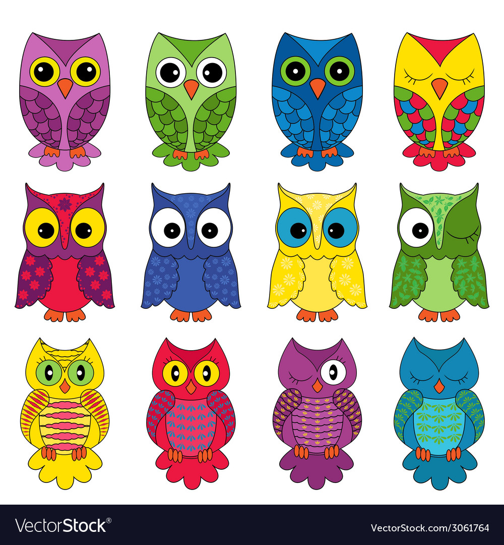 Set of twelve owls vector | Price: 1 Credit (USD $1)