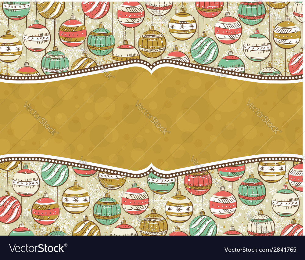 Background with christmas balls and label for mess vector | Price: 1 Credit (USD $1)
