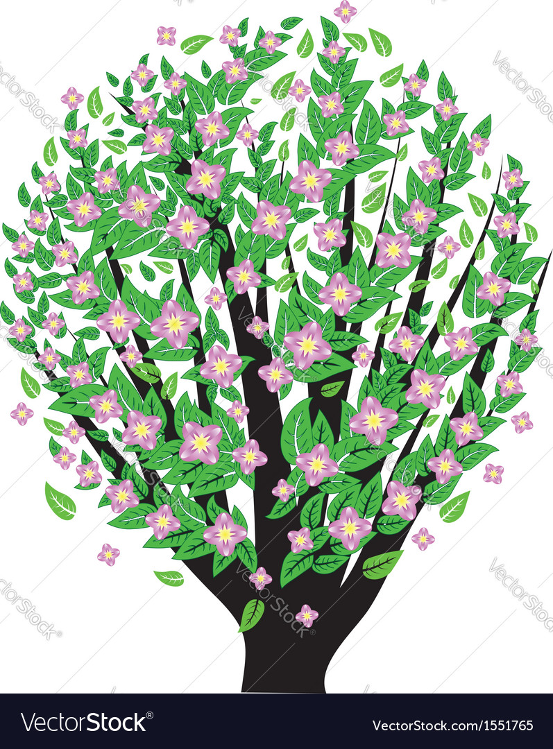 Bush with pink blossom vector | Price: 1 Credit (USD $1)