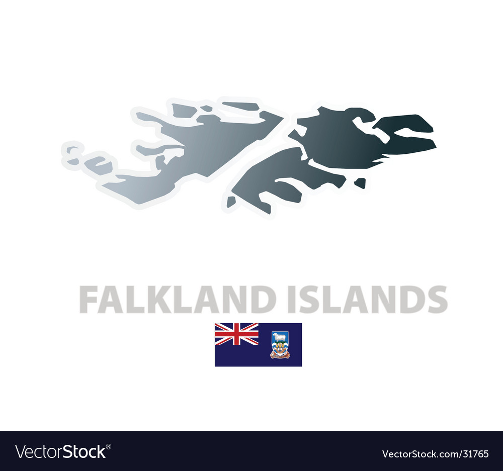 Falkland islands map with official flag vector | Price: 1 Credit (USD $1)