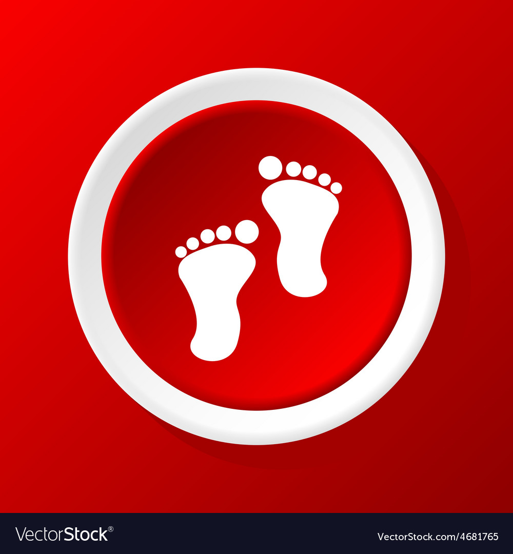 Footprint icon on red vector | Price: 1 Credit (USD $1)