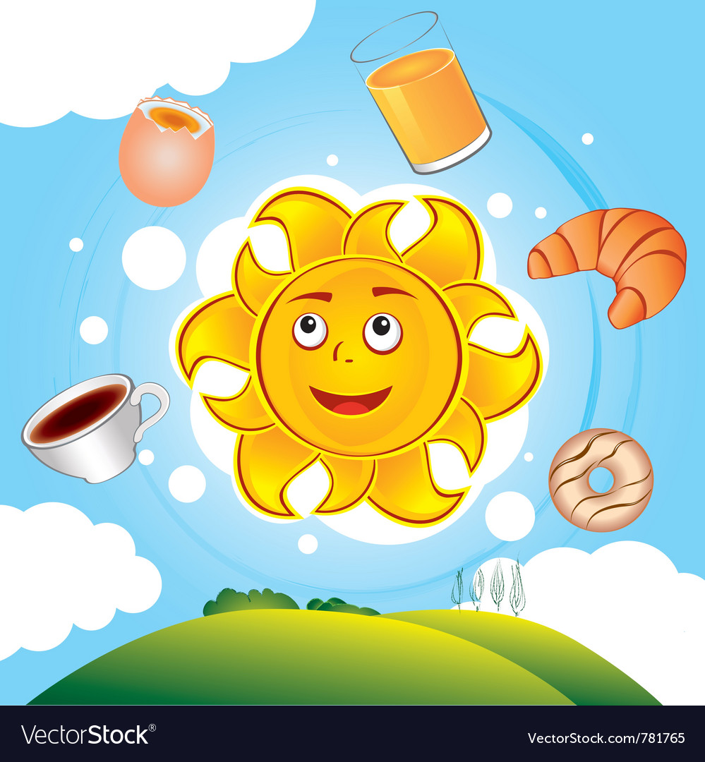Happy cartoon sun cooked breakfast vector | Price: 3 Credit (USD $3)