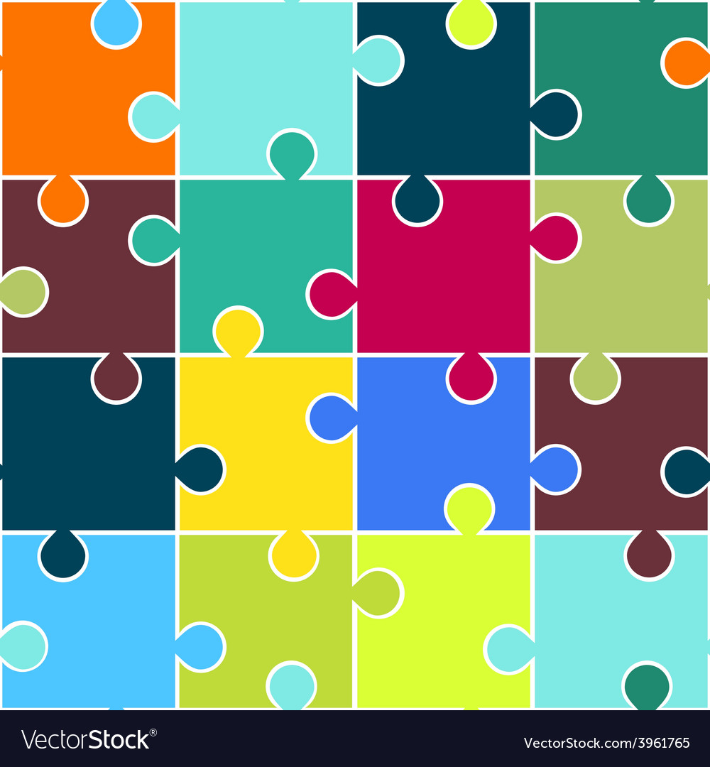 Puzzle seamless pattern teamwork concept vector | Price: 1 Credit (USD $1)