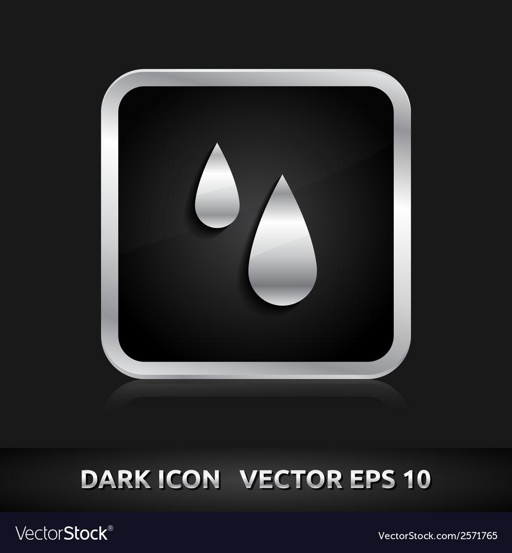 Rain drops icon silver metal vector | Price: 1 Credit (USD $1)
