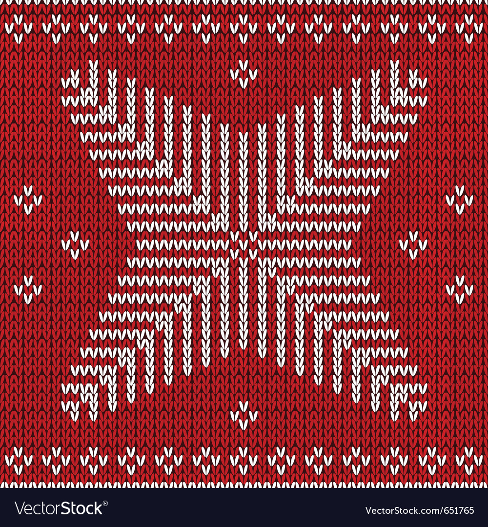 Red knitted background with snowflakes vector | Price: 1 Credit (USD $1)