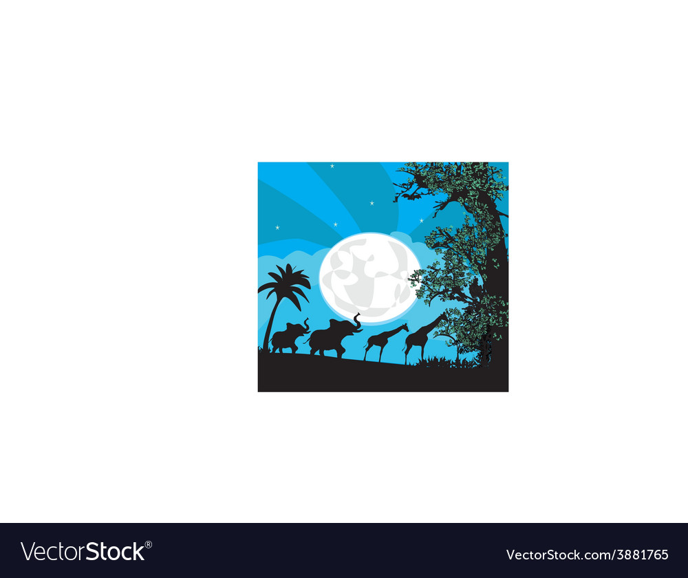 Safari in africa silhouette of wild animals vector | Price: 1 Credit (USD $1)