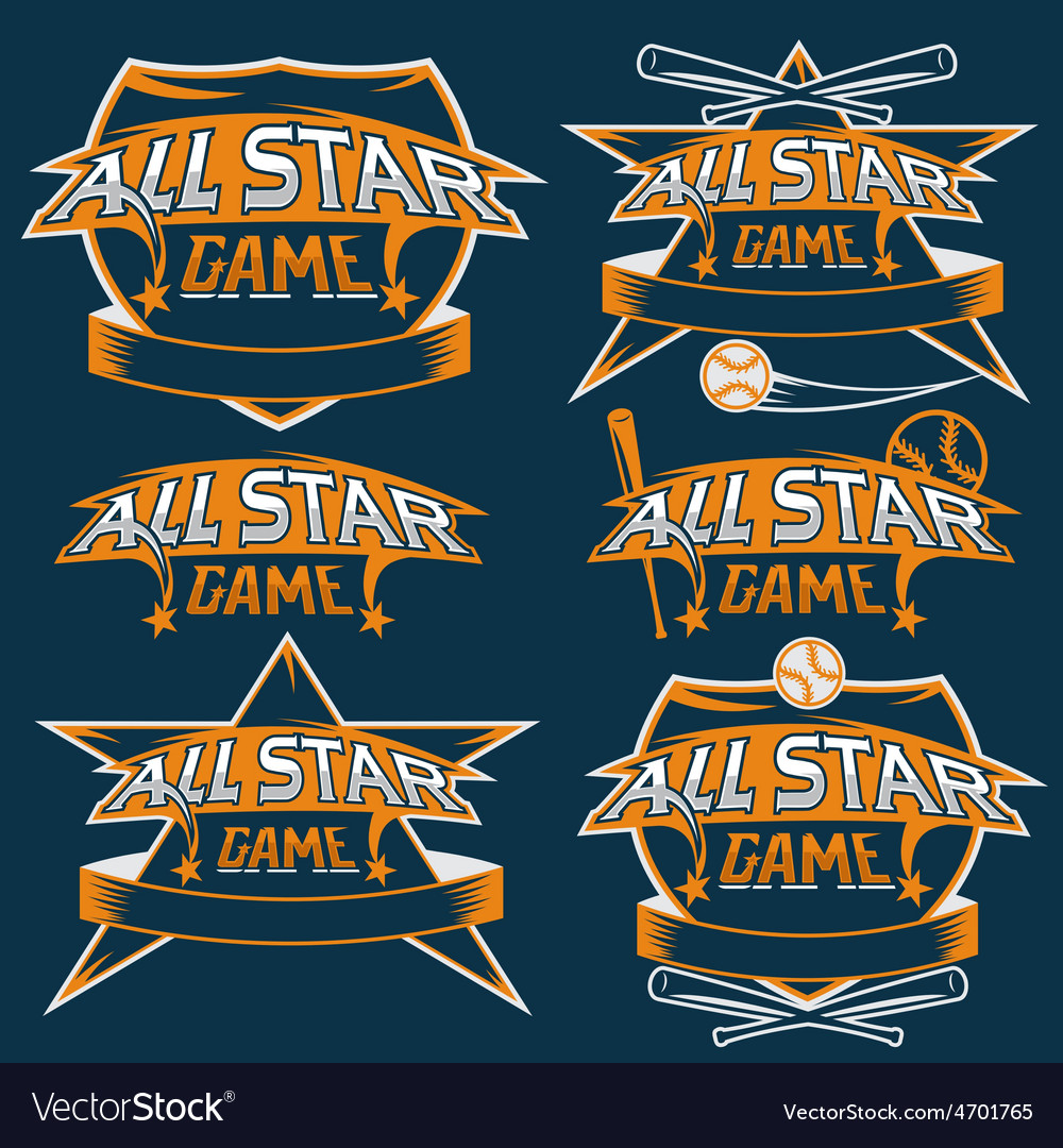 Set of vintage sports all star crests with vector | Price: 1 Credit (USD $1)