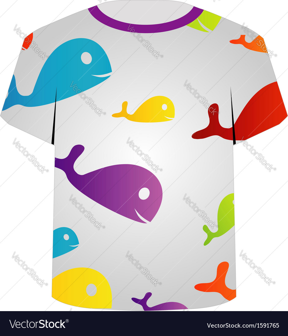 T shirt template- colorful fishes vector | Price: 1 Credit (USD $1)