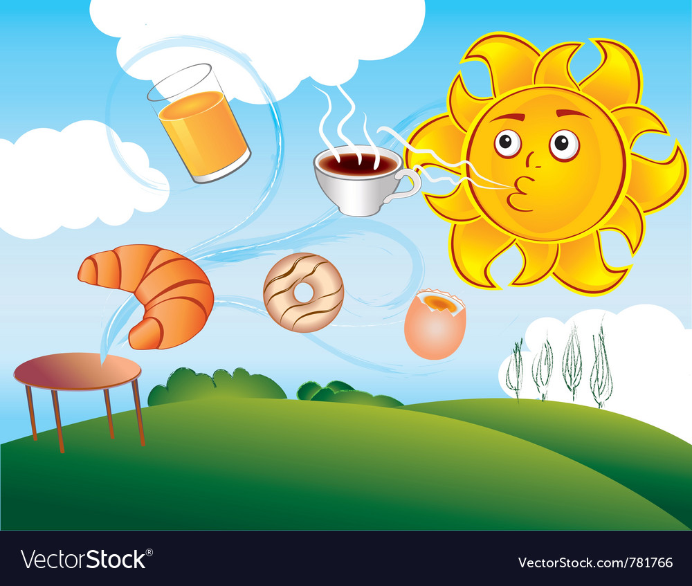 Cartoon sun delights cooked breakfast vector | Price: 3 Credit (USD $3)