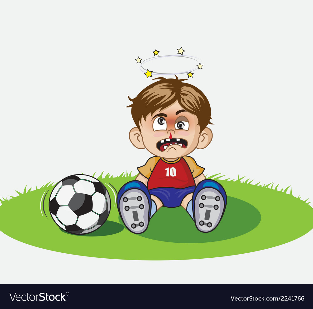 Child playing football in the ground vector | Price: 1 Credit (USD $1)