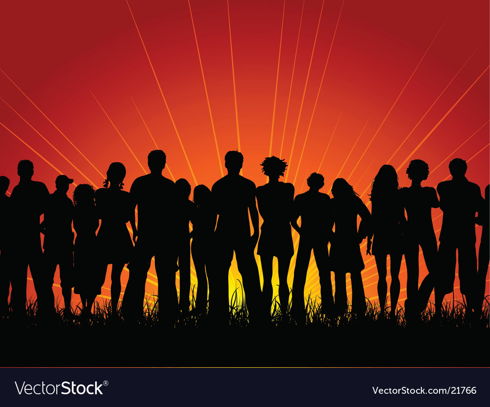 Crowd at sunset vector | Price: 1 Credit (USD $1)