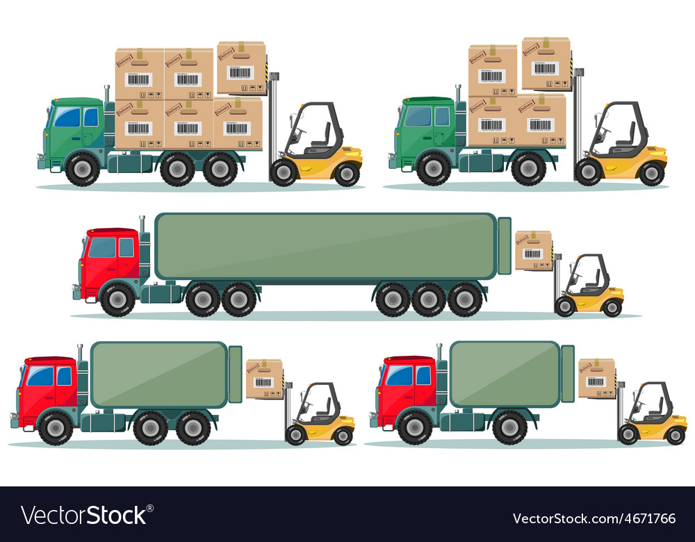 Long truck with cargo goes to the warehouse vector | Price: 1 Credit (USD $1)