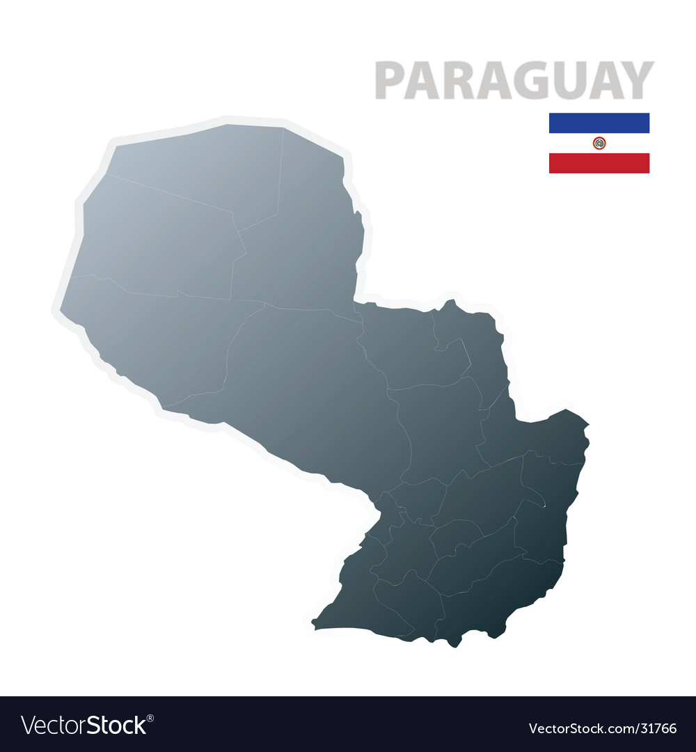 Paraguay map with official flag vector | Price: 1 Credit (USD $1)
