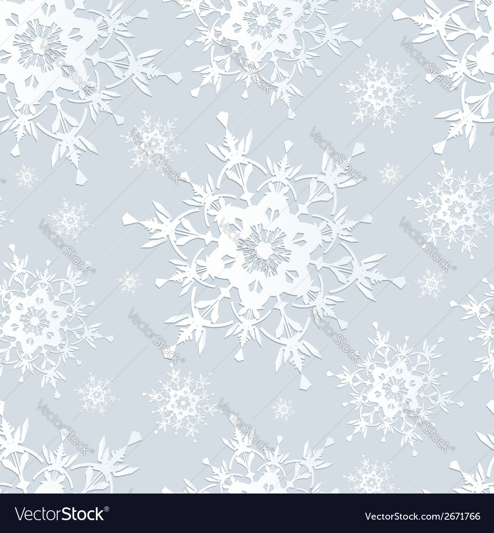 Seamless pattern gray with snowflakes vector | Price: 1 Credit (USD $1)