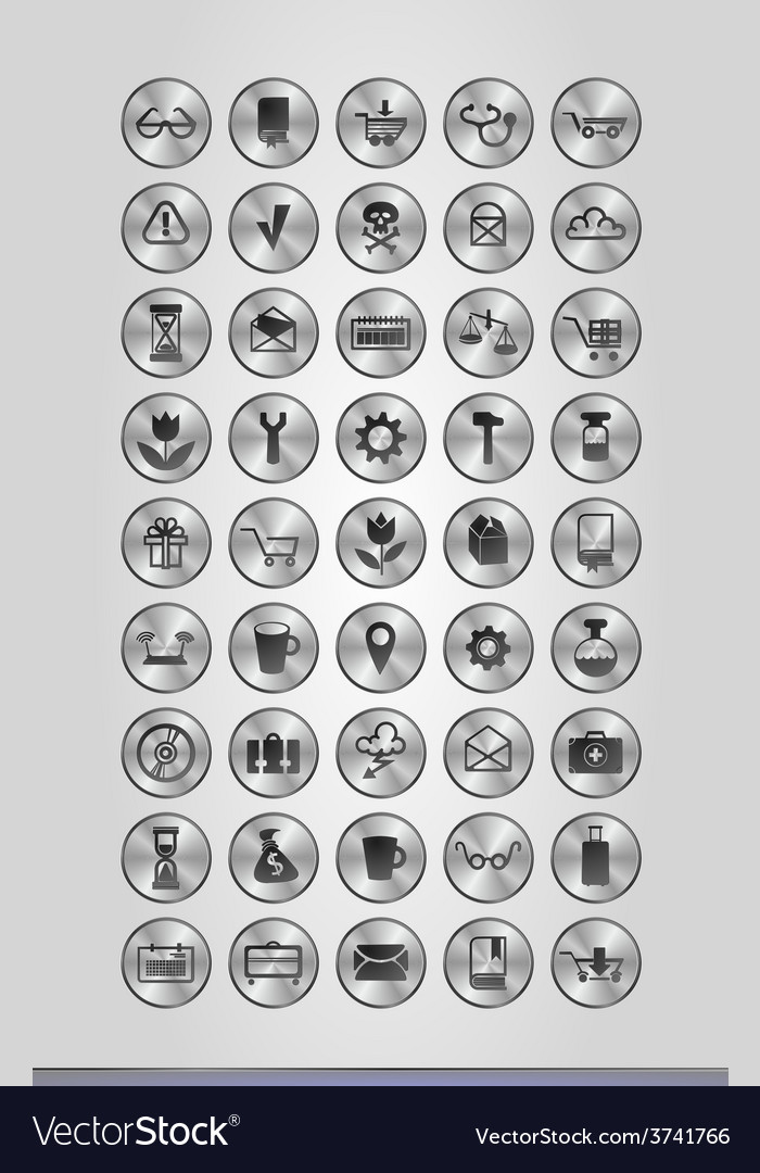 Silver business icons vector | Price: 1 Credit (USD $1)