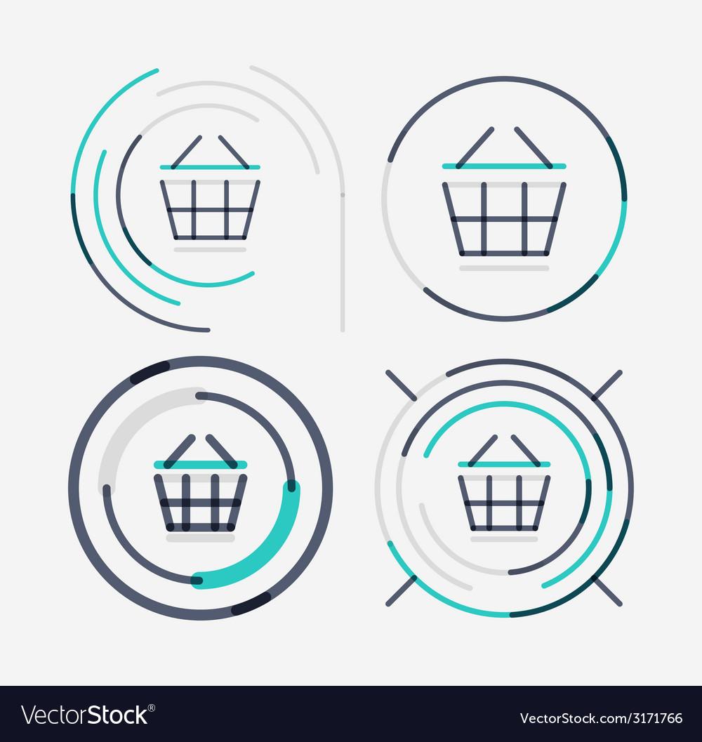 Thin line neat design logo set shopping cart icon vector | Price: 1 Credit (USD $1)