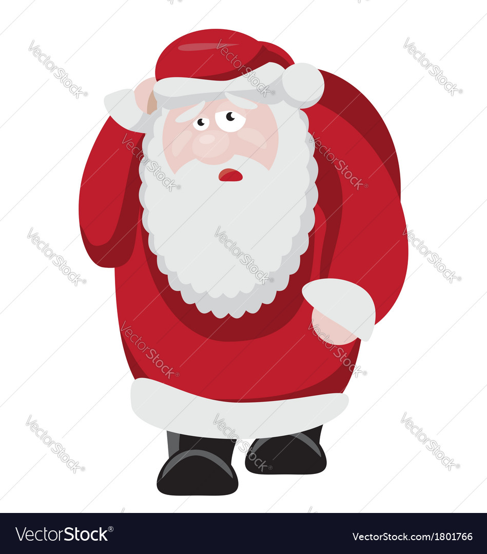 Tired santa after new years celebration vector | Price: 1 Credit (USD $1)